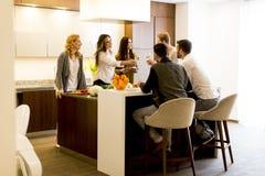 Groupe de jeunes amis grillant avec du vin blanc au dîner Images libres de droits