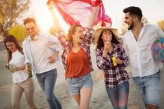 Groupe de jeunes amis heureux ayant le grand temps sur la plage Photo libre de droits