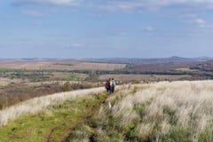 Groupe de jeunes amis pour une promenade dans la montagne Paysage de rivière Photos stock