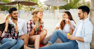 Groupe de jeunes amis riant et buvant de la bière Images stock