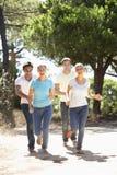 Groupe de jeunes amis sur la promenade dans la campagne Images libres de droits