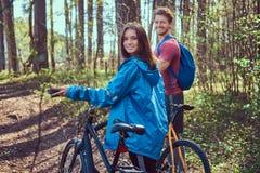 Groupe de jeunes amis trimardant par la forêt avec des vélos un beau jour d'été Photo stock