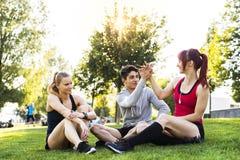 Groupe de jeunes coureurs se reposant en parc Image libre de droits