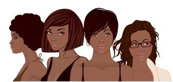 Groupe de jolies filles d'Afro-américain Portrait femelle B noir Image libre de droits