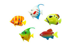 Groupe de jouet de poissons sur d'isolement Photo libre de droits