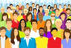 Groupe de la grande foule de visage occasionnel de personnes diverse illustration libre de droits