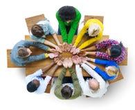Groupe de la main diverse de personnes évasée Images libres de droits