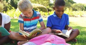 Groupe de livres de lecture d'enfants en parc banque de vidéos