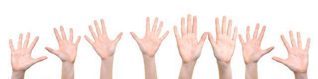 Groupe de mains augmentées  images stock