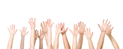 Groupe de mains dans le ciel photo stock