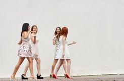 Groupe de marche d'amies de jeunes femmes Photos stock
