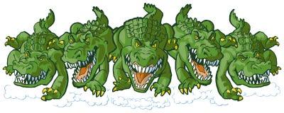 Groupe de mascottes moyennes de bande dessinée d'alligator chargeant en avant