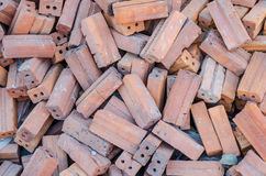 Groupe de matériaux de construction carrés de briques rouges Image stock