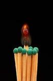 Groupe de matchs en bois verts avec le match brûlant au centre Images stock