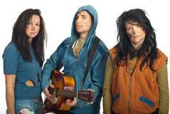 Groupe de mendiants avec la guitare Photos stock