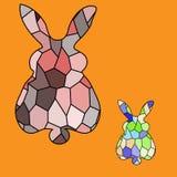 Groupe de mosaïque colorée lumineuse de lapins illustration de vecteur