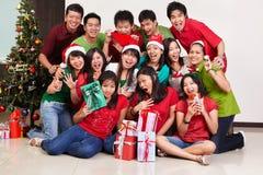 Groupe de Noël tiré des gens asiatiques Images stock