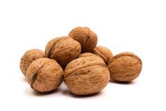 Groupe de noix sur le blanc Concept sain d'aliment biologique photographie stock libre de droits