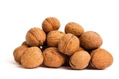 Groupe de noix sur le blanc Concept sain d'aliment biologique photographie stock