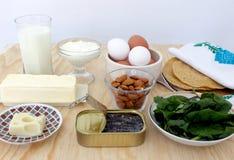 Groupe de nourritures riches en calcium Photographie stock
