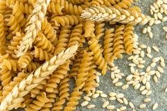 Groupe de pâtes colorées d'or sprial de macaronis Image stock