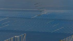 Groupe de panneaux solaires et photovoltaïques pour la production de courant électrique photos stock