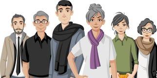 Groupe de personnes âgées de bande dessinée heureuse Photo stock