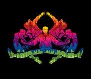 Groupe de personnes équipe dansant, l'action de danseur, de rue danse, houblon de hanche ou vecteur de graphique de danse de garç Image stock