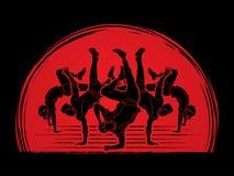 Groupe de personnes équipe dansant, l'action de danseur, de rue danse, houblon de hanche ou vecteur de graphique de danse de garç Photos stock