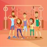 Groupe de personnes établissant dans un gymnase et habillés dans des vêtements de sports Caractères de personnes de bande dessiné Photos libres de droits