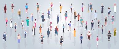 Groupe de personnes arabes portant l'homme d'affaires de vêtements traditionnels et la foule arabe intégrale de femme, le mâle mu illustration stock
