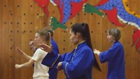Groupe de personnes arts martiaux s'exerçants dans le gymnase 3 janvier 2018, la Sibérie, Novosibirsk, Russie clips vidéos