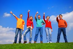 Groupe de personnes avec des pouces vers le haut Images stock
