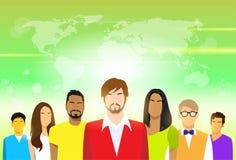 Groupe de personnes avec le jeune homme occasionnel de l'espace de copie illustration stock
