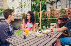 Groupe de personnes ayant l'amusement dans un jour d'été Photographie stock