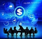 Groupe de personnes d'entreprise ayant une discussion au sujet de Busin global Photos stock
