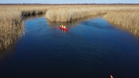 Groupe de personnes dans des kayaks parmi des roseaux sur la rivi?re d'automne clips vidéos