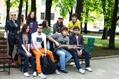 Groupe de personnes dans la ville. photographie stock