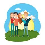 Groupe de personnes dans le camp illustration stock