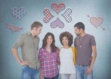 Groupe de personnes dans les couples se tenant devant des icônes de coeur d'amour Images stock