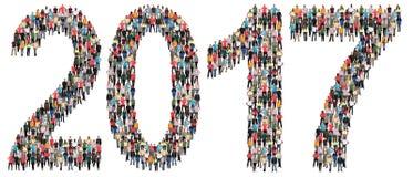 Groupe de personnes de la veille du ` s de nouvelle année de l'année 2017 Image libre de droits