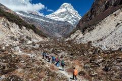 Groupe de personnes divers marchant sur le sentier piéton de montagne Photographie stock