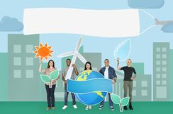 Groupe de personnes diverses tenant l'icône écologique illustration de vecteur