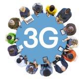 Groupe de personnes et le concept 3G Photographie stock libre de droits