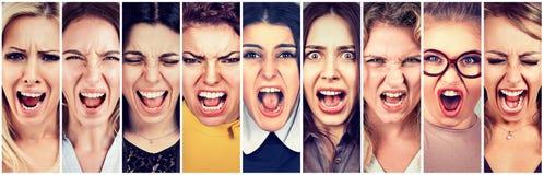 Groupe de personnes fâchées criant image libre de droits