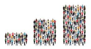 Groupe de personnes l'histogramme de croissance des bénéfices de concept d'affaires de succès Image stock