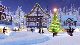 Groupe de personnes la danse près de l'arbre de Noël d'extérieur illustration de vecteur