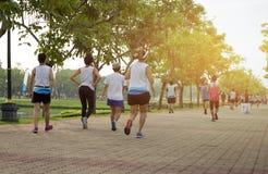 Groupe de personnes le marathon courant en parc Image libre de droits