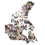 Groupe de personnes multiculturel de carte de Canada immigration d'intégration photographie stock libre de droits
