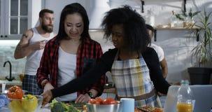 Groupe de personnes préparant la nourriture dans la cuisine banque de vidéos
